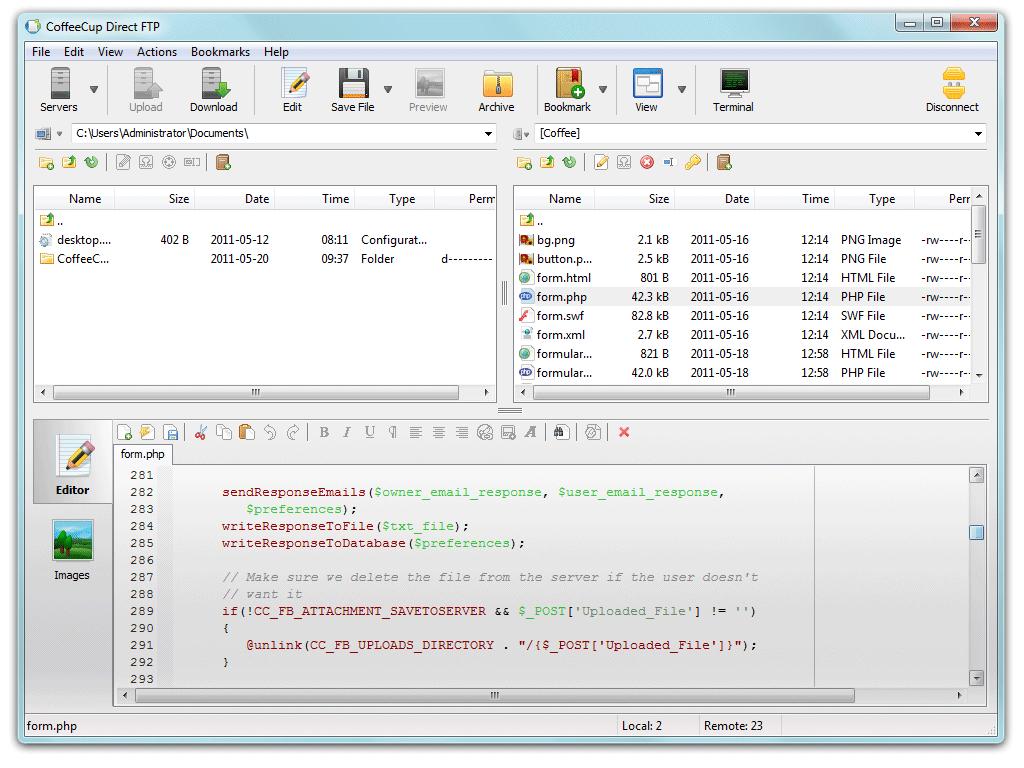 CoffeeCup FTP ekran görüntüsü