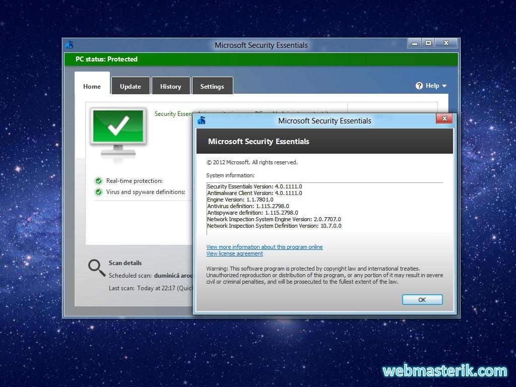 Скриншот в Microsoft Security Essentials