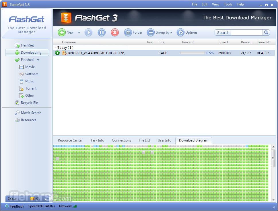 FlashGet ekran görüntüsü