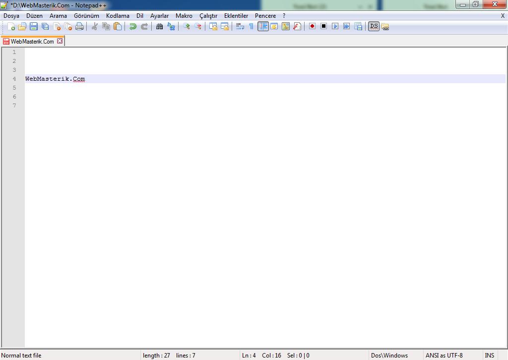 Notepad++ ekran görüntüsü