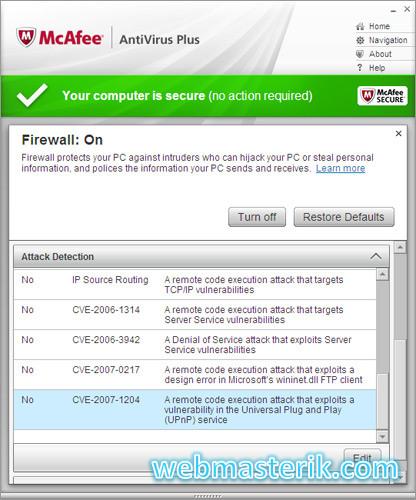 McAfee Antivirus ekran görüntüsü