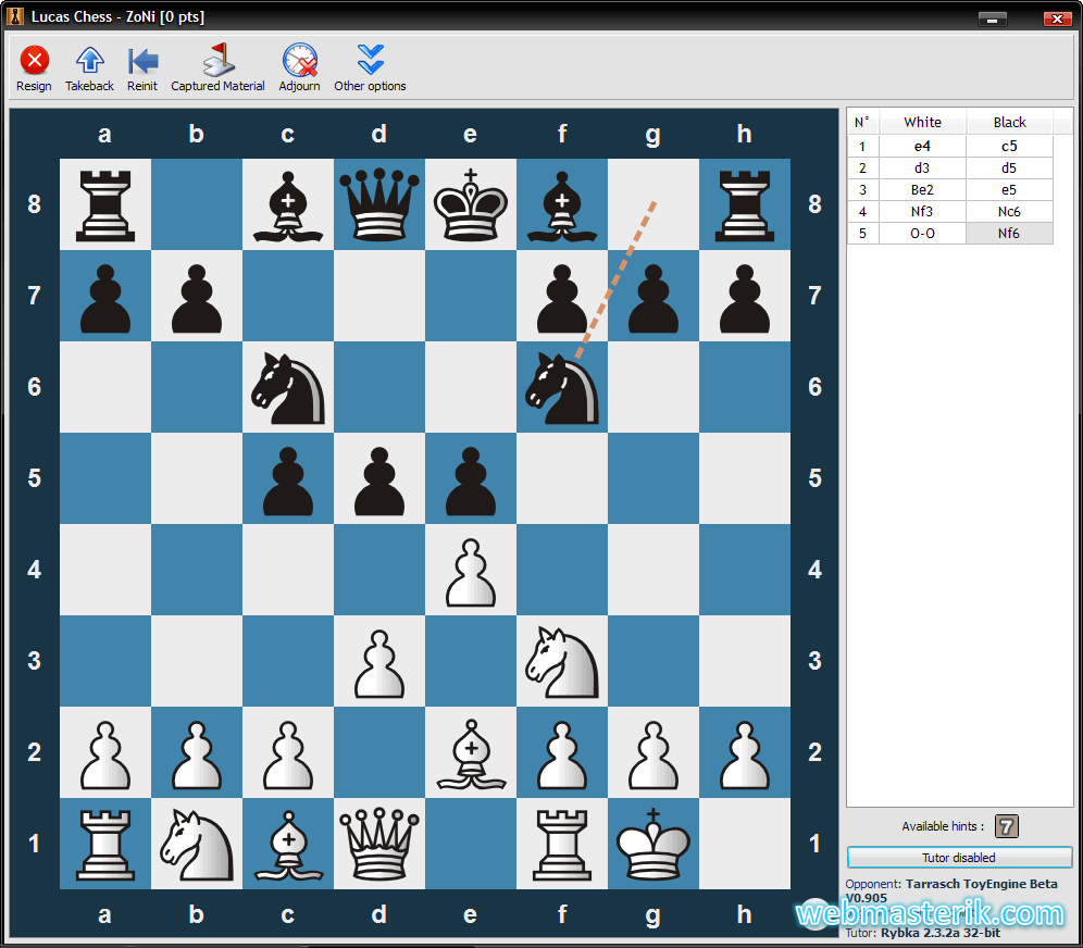 Скриншот в Lucas Шахматы