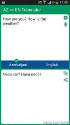 Azərbaycanca – İngiliscə lüğət ekran görüntüsü