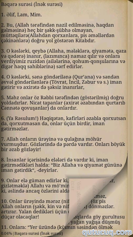 Azərbaycanca Quran ekran görüntüsü