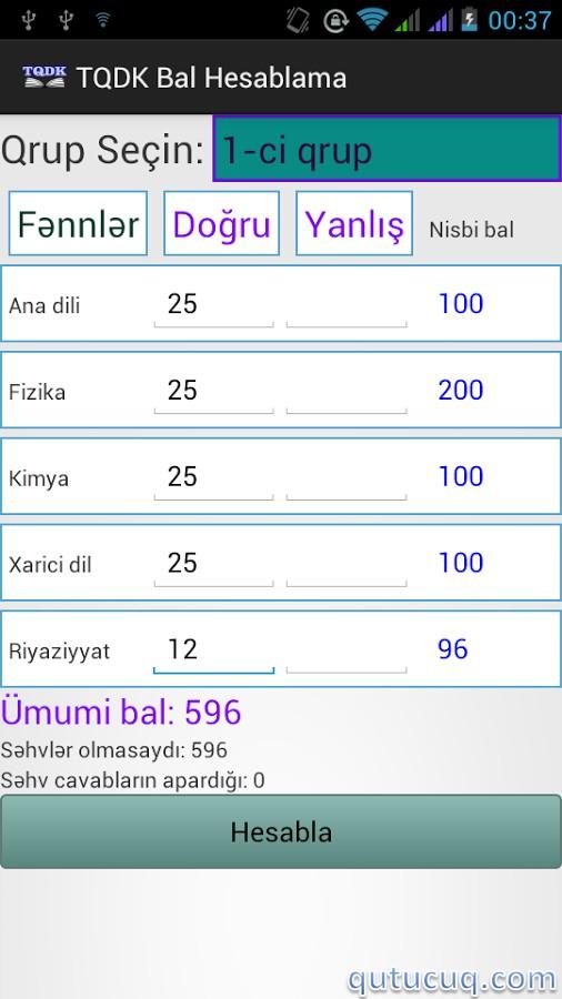 TQDK Bal Hesablama ekran görüntüsü