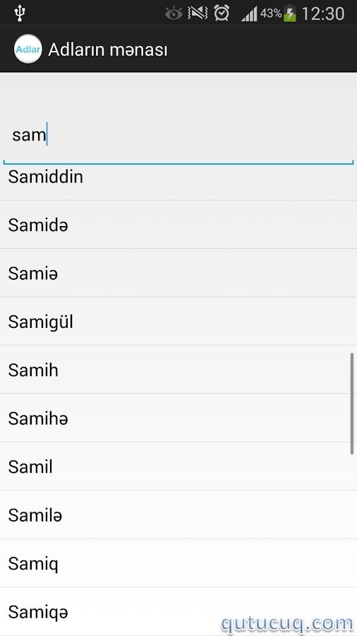 Adların mənası ekran görüntüsü
