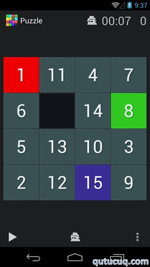 Fifteen puzzle ekran görüntüsü
