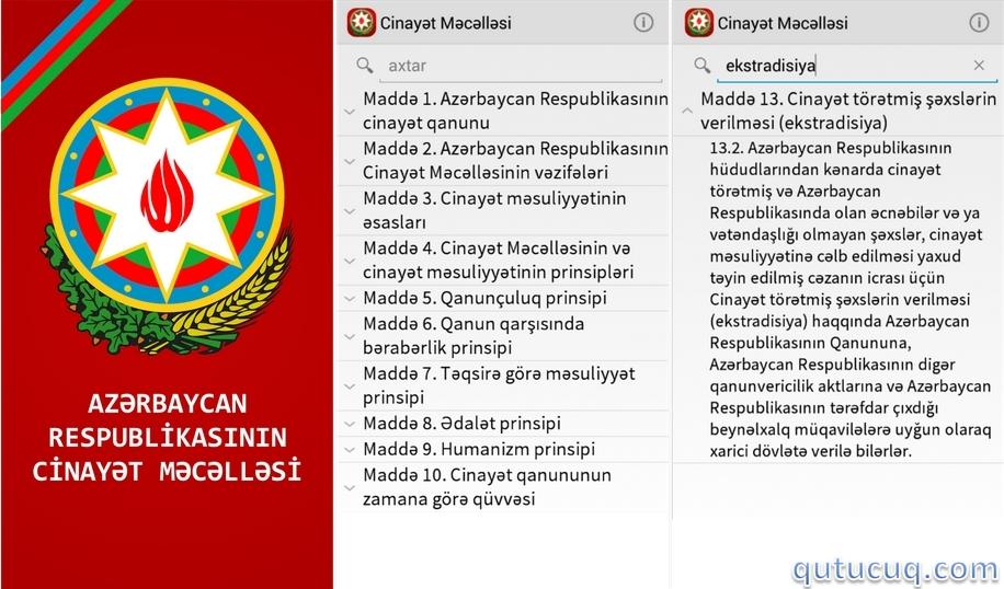Azərbaycan Respublikasının Cinayət Məcəlləsi ekran görüntüsü